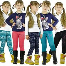 Winterleggings Warm Mädchen Leggins Winter Hose Thermo Norweger Kinder Jeans ar8