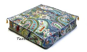 """18"""" Indian Grey Square Paisley Handmade Home Décor Kantha Floor Cushion Cover US"""