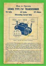 VTG 1954 Lionel ZW Multi-Control Transformer Instructions Sheet ZW-134 7-58