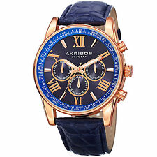 Men's Akribos XXIV AK864RGBU Rose-tone Multifunction Blue Leather Strap Watch