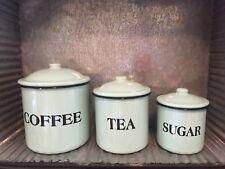 SET OF 3 ENAMEL CANISTERS-MINT GREEN-COFFEE TEA SUGAR-Farmhouse RETRO Style-NEW