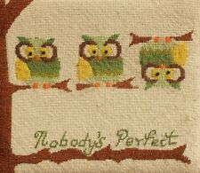Owl Vintage 1960's IMPERFECT owls Framed Needlework Needlepoint Sampler CUTE