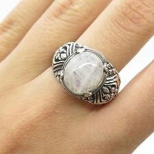 Vtg 925 Sterling Silver Real Moonstone  Gemstone Wide Ring Size 9