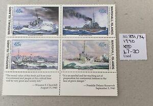 Marshall Islands Sg 331/34  U/M Block 4 Cat £7.20