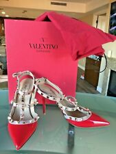 EUC VALENTINO ROCKSTUD RED PATENT PUMPS heels SHOES SIZE 38.5  8M $995