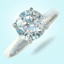 3 ct Round Ring Vintage Brilliant Top Russian CZ  Moissanite Simulant Size 7.5