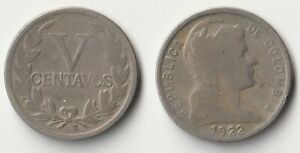 1922 Colombia 5 centavos coin Better date