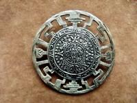 "Vintage EMF Taxco Sterling Silver Aztec Calendar Brooch 2""dia Round Pin Signed"
