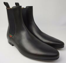 Gucci Men's Shoes Black Leather Chelsea Boots UK 11.5 / US 12.5 Red Green Web
