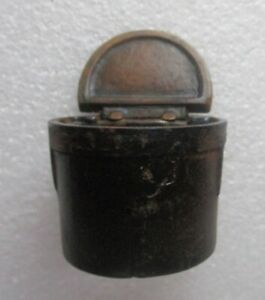 Cast Iron Antique Desk Ink Well Insert with Hinged Lid