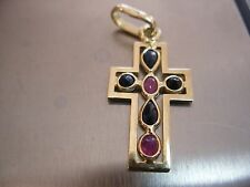 14k Solid Yellow Gold Cross Pendant Ruby and Sapphire 2.4 gram