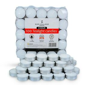 Tea Lights 4 Hour Long Burn Night Light Candles Unscented Tealights 100 PACK
