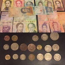 Vintage Paper Money and Coins - Colombia Pesos and Venezuela Bolivar LOT