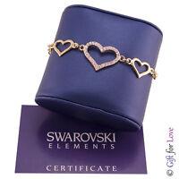 Bracciale donna oro Swarovski Elements originale G4Love cristalli cuori ragazza