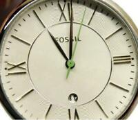 Fossil ES3734 Date WR 3 ATM St. Steel Green Leather Watch Analog Quartz New Batt