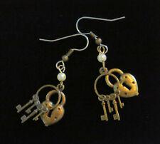 Faux Pearl Antiqued Brass Valentine Hearts Heart Lock and Jailer Keys Earrings
