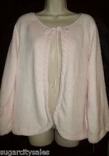NWT CABERNET L/S TIE FRONT EMBOSSED PLUSH BED JACKET M
