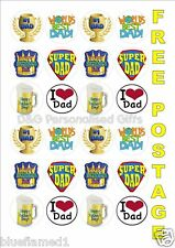 Fathers Day Super Dad Rice Paper Fairy Cake Toppers