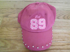 Rose-Pink Baseball-Style Hat with Rhinestones, Size 4-8