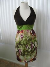 Teeze Me Teen Dresses Brown Green Halter Casual Mid Calf Size 3 NWT