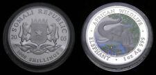 2005 Somali Republic 1000 Shillings African Wildlife Elephant 1 Oz. Ag 999 Unc