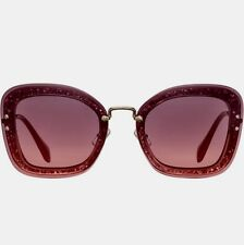 85f4e12669b NWT MIU MIU SMU 02TS Raspberry Glitter Gold Arm REVEAL Oversized Sunglasses   510