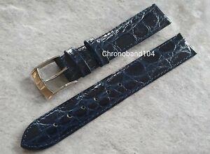 Genuine OEM Zenith 17/16mm Blue Shiny Crocodile Leather Strap/Buckle - UNUSED