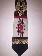 "Don Jonathon Art Deco necktie Black/Red Hand made in Korea 57x4"" Very Cool!!"