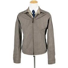NWT $1995 Zegna Tan Brown Check Microfiber Leather Trim Rev. Blouson Jacket 48R