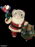 Midwest Importers Fabric Mache Figurine Christmas Santa Claus Mouse Presents Bag