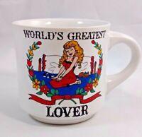 Vintage Papel Coffee Mug 10oz Worlds Greatest Lover Busty Blonde Left Handed