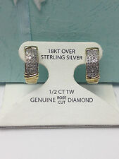 1/2CT GENUINE DIAMOND  X HOOP  EARRINGS  New 18KT GOLD over 925 STERLING SILVER
