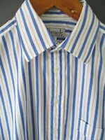 "TUE VTG 70s/80s HARRODS FORMAL SHIRT (15.5"") BLUE PINSTRIPE COTTON D/CUFFS - Exc"