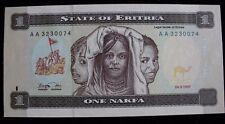 1997 State of Eritrea 1 One Nakfa Banknote P1 Aa3230074