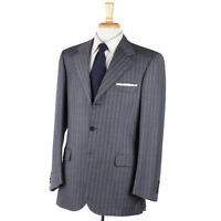NWT $6400 BRIONI Gray and Sky Blue Stripe Super 150s Wool Suit 40 R