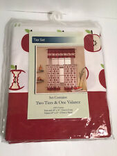 Candy Apple Red & White Kitchen Tier Curtain Valance Set, NWT