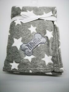 PERSONALISED DOG/PUPPY star  FIRST BLANKET sparkle bling  EMBROIDERED