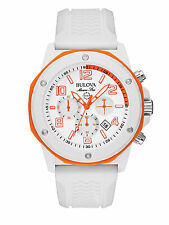 Bulova Marine Star Men's 98B199 Chronograph White Dial White Rubber 44mm Watch