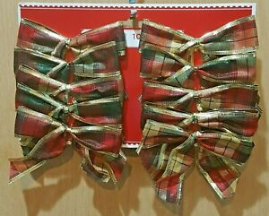 Holiday Time 10-pc Red/Green/Gold Plaid Small Christmas/Wedding Bows w/Foil Trim