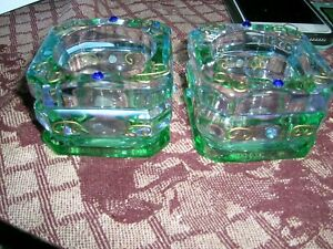 Green & Clear Glass Tealight Candle Holders. A very nice set of 2. NEW