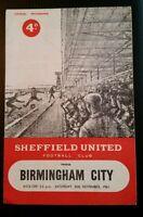 Sheffield United v Birmingham City Programme 25/11/61