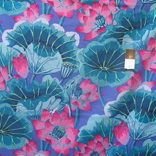 Kaffe Fassett GP93 Lake Blossoms Blue Cotton Fabric By The Yard