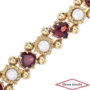 Estate Garnet Pearl 14K Gold Beautiful Heart Link Bracelet 20.4 Grams NR