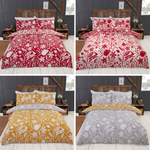 Woodland Rabbit Flowers Reversible Duvet Quilt Cover Bedding Set & Pillowcases