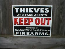 THIEVES KEEP OUT PORCELAIN COATED SIGN