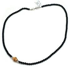 """New King Baby Studio Men's Silver 6mm Onyx Bead Necklace with Bone Skull 30"""""""