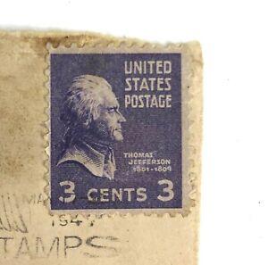 Thomas Jefferson Purple 3 Cent Stamp On Envelope Postmarked 1947
