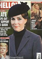 Hello magazine Kate Middleton David Bowie Jerry Hall Celine Dion Golden Globes