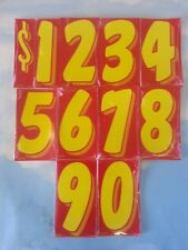 "~Free shipping CAR DEALER 11 dozen NEW 7.5"" VINYL WINDOW NUMBER STICKERS Red/Yel"