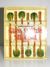 RARE  BOSTON WAREHOUSE SET OF 6 COCKTAIL PALM TREE TROPICAL GLASS SWIZZLE STICK